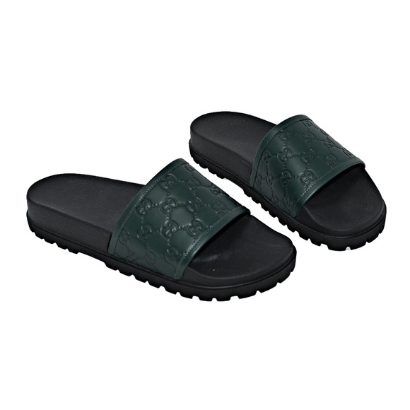 06ad24695852 NEW GUCCI MEN S LEATHER UPPER SIGNATURE SLIDES